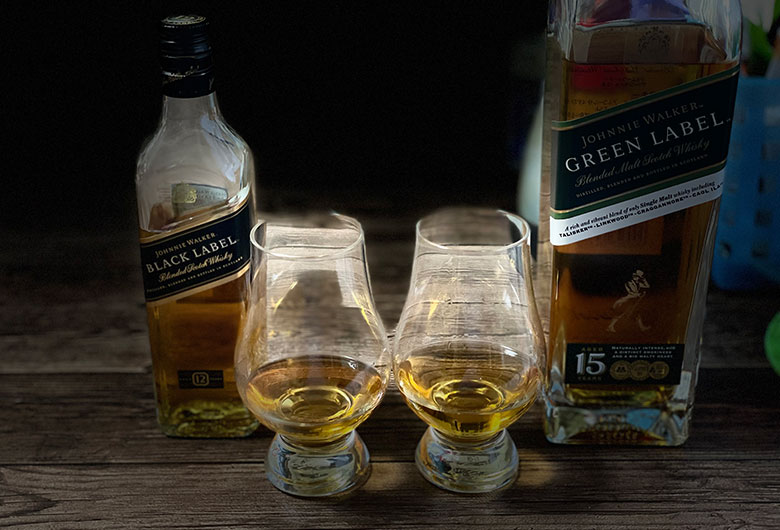 ジョニーウォーカー グリーンラベル15年とブラックラベル12年飲み比べ